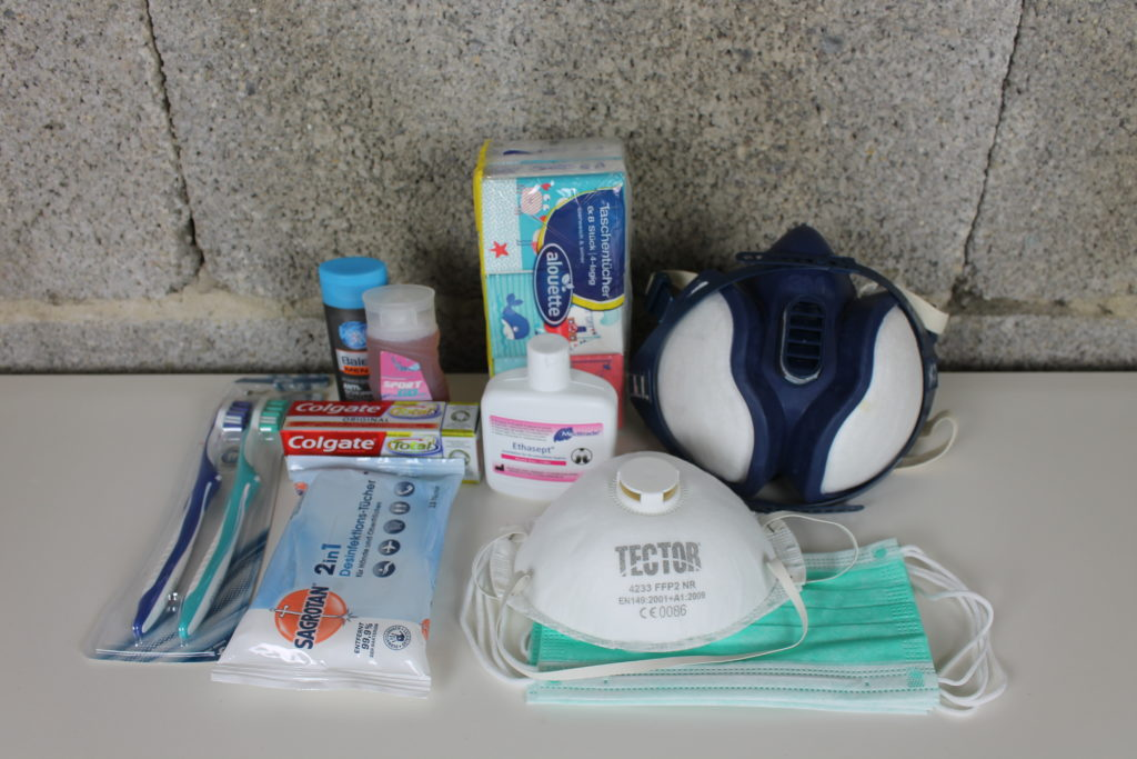 Hygiene Artikel im Fluchtrucksack