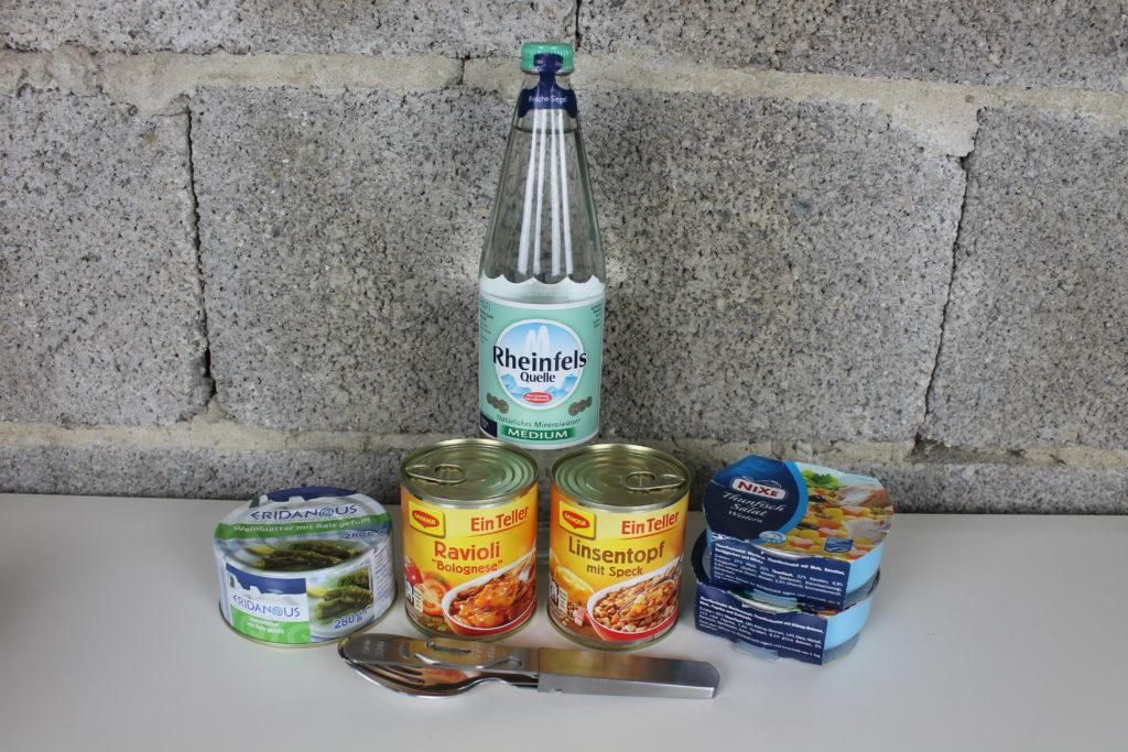 Lebensmittel für den Fluchtrucksack